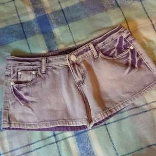 紫色洗水牛仔短褲