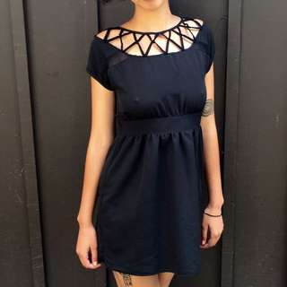 Urban Outfitters Black Graphic Neck Mini Dress in Extra Small