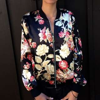 Simon's Satin Floral Bomber in Large
