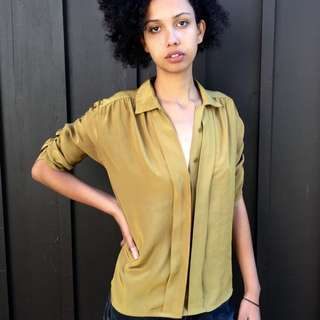 Urban Outfitters Chartreuse Ruched Button-Up In Medium