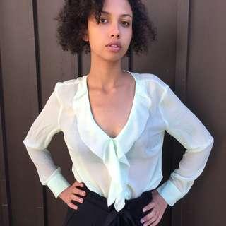 BRAND NEW Ann Taylor Mint Green Sheer Blouse in Medium