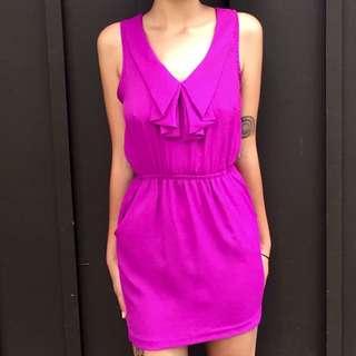 Urban Outfitters Fuchsia Ruffle Mini Dress in Extra-Small