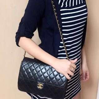 Authentic Chanel Lambskin Flap Square Medium