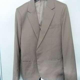 免費韓國購入95%new啡色修身西裝外套50碼