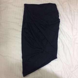 Kookai Navy wrap midi skirt, XS-S