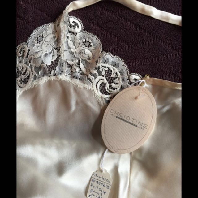 100% new silk slip of a chemise with tags and French lace appliqué - Selling 3 of them, 1 XS 2 M