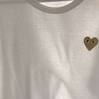 CDG GOLD HEART WHITE SHIRT