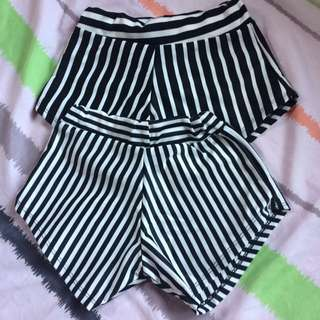 TAKE 2! Black Stripe Shorts