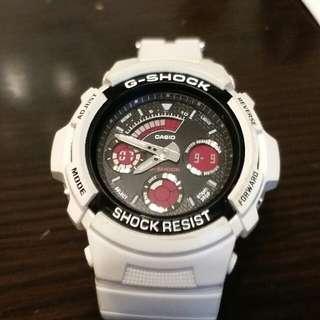 CASIO 白色 G-SHOCK 防水錶 型號591SC
