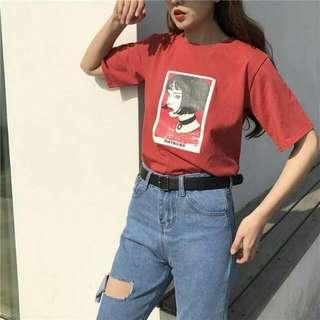 Short Sleeve Printed Red Shirt