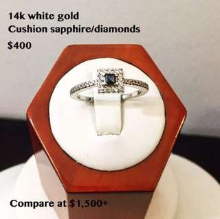 14k gold ladies sapphire diamond ring