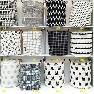 Black and White Printed Laundry Bags