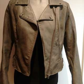 Charcoal Pu Leather Jacket Size 10