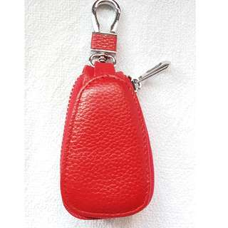 Genuine Cow Leather Key Chain Coin Pouch Red