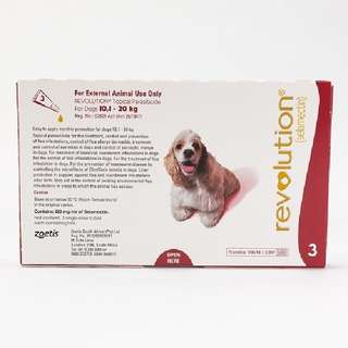 Revolution (Red) for Medium Dogs weighing 10-20kg (Flea and Heartworm Prevention and Treatment)