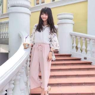 粉色系寬褲