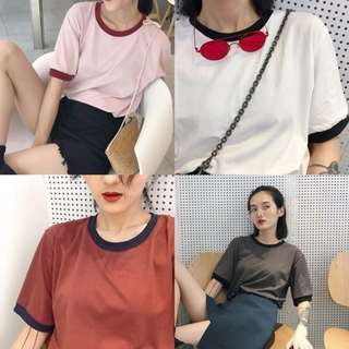 Oversized Tee - Colored Collar
