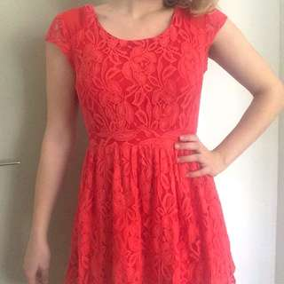 Glassons Pink Lace Skater Dress