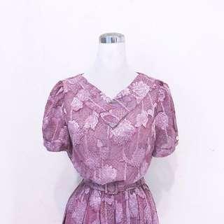 荼蘼貓房│芙蓉紫紅洋裝 Vintage古著