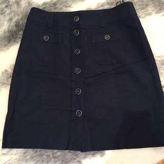 Size 12 Navy Cotton Summer Skirt - Oasis (U.K.)