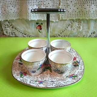 英國骨瓷老件蛋杯、盤架組