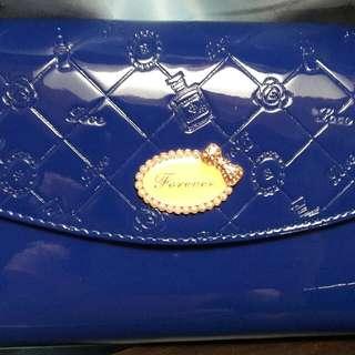 漆皮 可愛藍色 手拿包