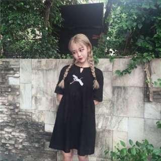 紅鶴刺繡 收腰短袖連身裙 小清新風格