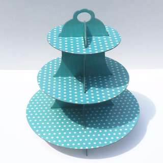 Collapsible Three Tier Cupcake Stand in Blue