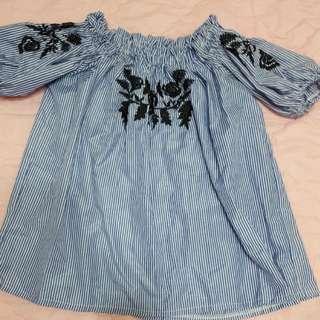 全新玫瑰條紋刺繡上衣