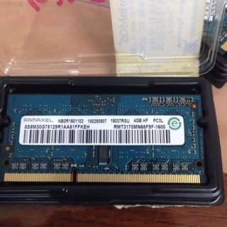 RAM FOR LAPTOP (4gb ddr3 pc3l 1600mhz)