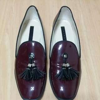 🚚 💖 Zara 酒紅色流蘇 樂福鞋
