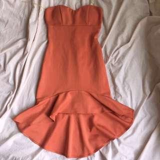 Salmon midi tube dress