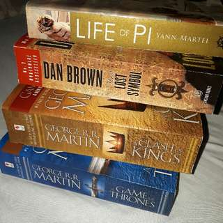 Game of Thrones, Clash of Kings, Life of PI, Lost Symbol