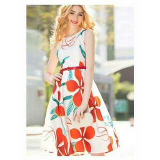 Floral Dress - satin-like Material