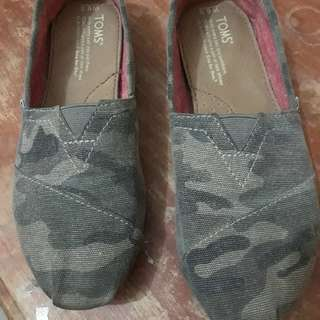 Toms Green Washed Camo Canvas Classic Shoes for Women