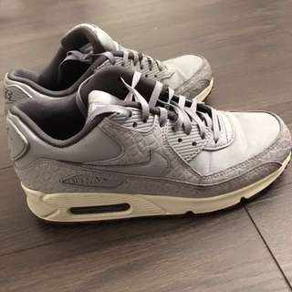 Nike Women's Gray Air Max 90 Croc-embossed Leather Trainers size 7.5 (245mm)