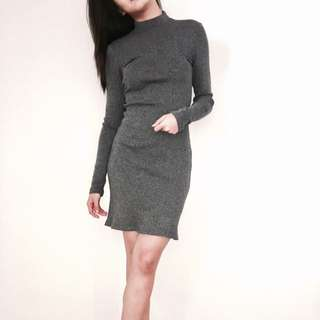 Bershka Knit Long Sleeve Dress
