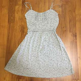 Grey Floral Cotton Strappy Dress