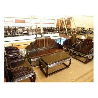 【景徽軒古傢俬】~~~ 酸枝木孔明椅客廳組六件套 KA070