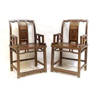 【景徽軒古傢俬】~~~ (老件) 蘇作榨榛木太師椅一對 KA080