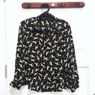 PRELOVED Black Leopard Blouse