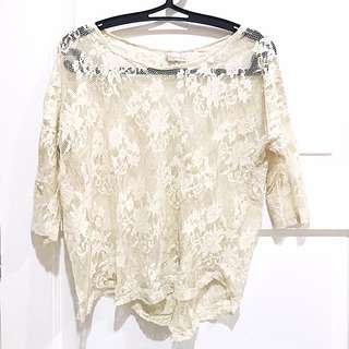 PRELOVED PULL&BEAR Cream Lace Top