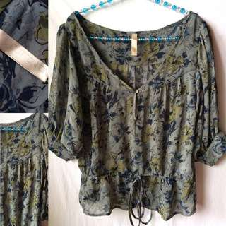 Cotton On Boho Sheer Top (preloved)   Size: XS