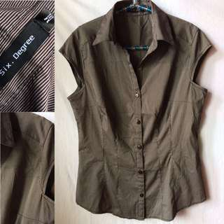 Collared Short-sleeve Blouse (preloved)   Size: M