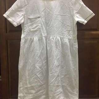 二手/白色棉麻洋裝