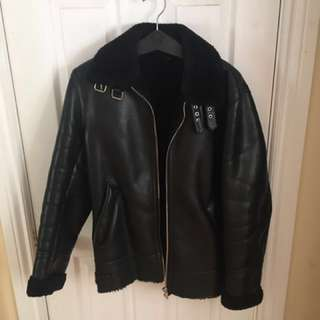 Zara Man Black Leather Jacket with Fur Collar - BLACK Sz. M