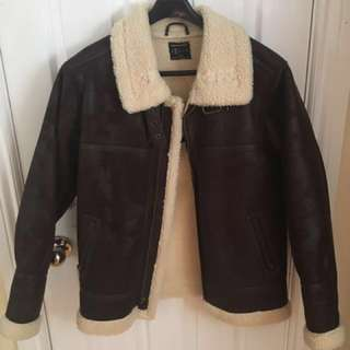 UO Oversized Leather Jacket with Fur Borg - BROWN Sz. S