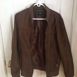 21 Men Faux Suede Bomber Jacket - BROWN Sz. S