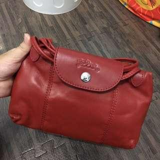 全新 原單  Longchamp 小羊皮 郵差包 紅色