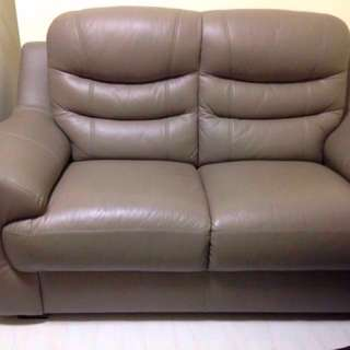 2 Seater Leather Sofa (free preloved 3 seater sofa)